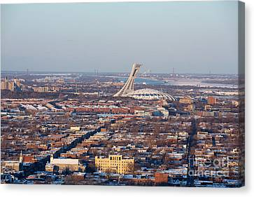 Montreal Cityscape With Olympic Stadium Canvas Print by Jane Rix
