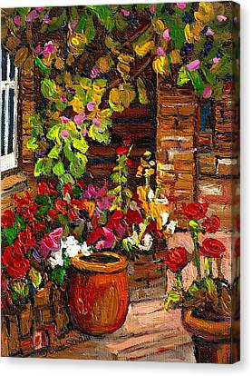 Montreal Cityscenes Homes And Gardens Canvas Print by Carole Spandau