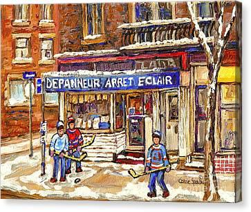 Montreal Corner Depanneur Arret Verdun Painting Street Hockey Art Scene Canadian Art Carole Spandau Canvas Print by Carole Spandau
