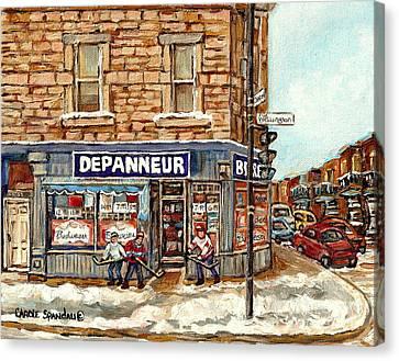 Montreal Corner Depanneur With Hockey Art Verdun Winter City Scene Canadian Painting Carole Spandau  Canvas Print by Carole Spandau