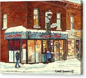 Montreal Corner Poutine Lafleur Street Hockey Winter Scene Canadian Art For Sale Carole Spandau      Canvas Print by Carole Spandau