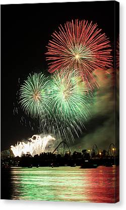 Montreal-fireworks Canvas Print by Mircea Costina Photography