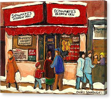 Montreal Hebrew Delicatessen Schwartzs By Montreal Streetscene Artist Carole Spandau Canvas Print by Carole Spandau