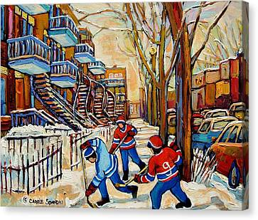 Montreal Winter Scenes Canvas Print - Montreal Hockey Game With 3 Boys by Carole Spandau