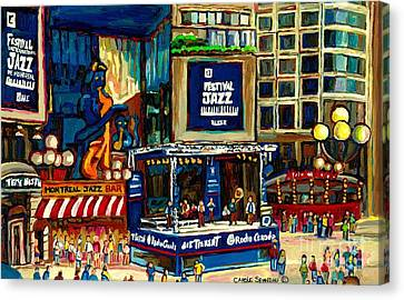 Montreal Restaurants Canvas Print - Montreal International Jazz Festival by Carole Spandau
