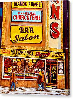 Montreal Landmarks And Legengs By Popular Cityscene Artist Carole Spandau With Over 500 Art Prints Canvas Print by Carole Spandau