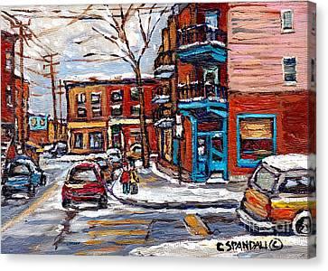 Montreal Memories Painting Rue Fairmount And Clark Wilensky Winter Scene Best Canadian Original Art  Canvas Print by Carole Spandau