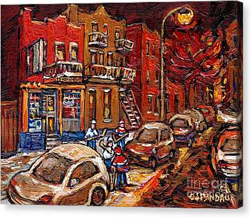 Montreal Night Scene Painting Hockey Game On Rue Centre At The Depanneur Pointe St Charles Winter  Canvas Print by Carole Spandau