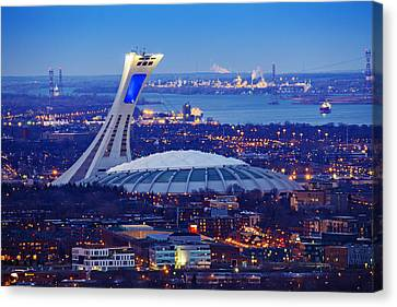 Montreal Olympic Stadium Canvas Print by Mircea Costina Photography
