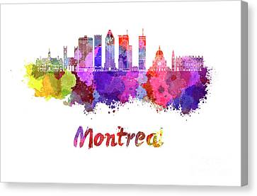 Montreal Skyline In Watercolor Splatters Canvas Print by Pablo Romero