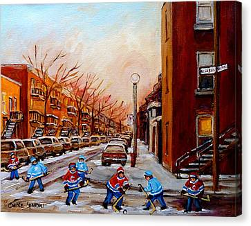 Montreal Street Hockey Game Canvas Print by Carole Spandau