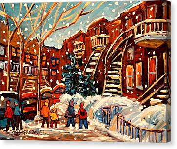 Montreal Winter Scenes Canvas Print - Montreal Street In Winter by Carole Spandau