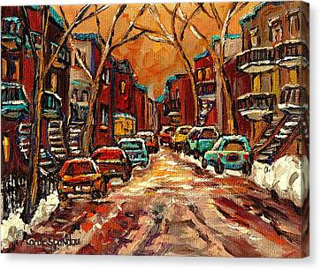 Montreal Streets In Winter Canvas Print by Carole Spandau