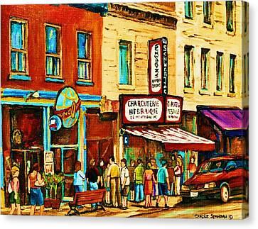 Montreal Streetscene Artist Carole Spandau Paints Schwartzs Main Street Hustle Bustle Canvas Print by Carole Spandau