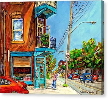 Montreal Summer Scene Painting Wilensky's Lunch Fairmount And Clark Canadian Art Carole Spandau Canvas Print by Carole Spandau