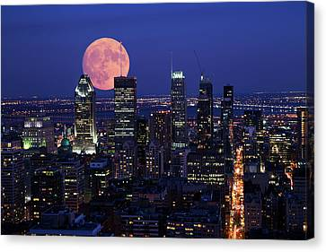 Montreal Supermoon Canvas Print by Mircea Costina Photography