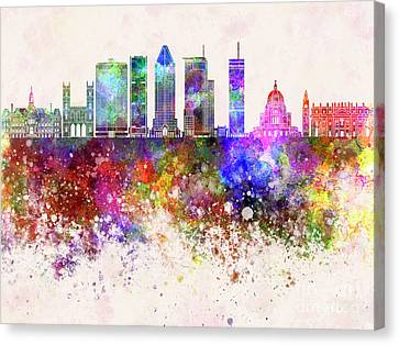 Montreal V2 Skyline In Watercolor Background Canvas Print by Pablo Romero