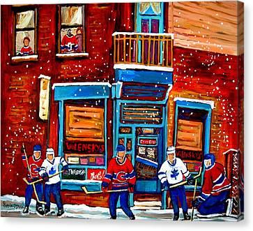 Montreal Wilensky Deli By Carole Spandau Montreal Streetscene And Hockey Artist Canvas Print by Carole Spandau