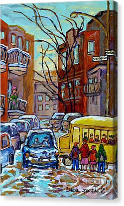 Montreal Winter City Scene With Yellow School Bus Canadian Painting Carole Spandau                   Canvas Print by Carole Spandau