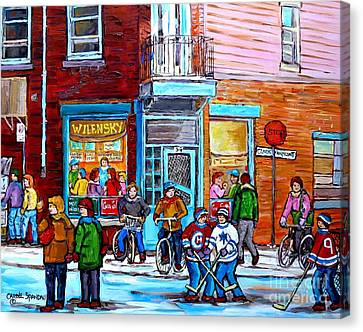 Montreal Winter Scene Bicycles And Hockey At Wilensky's Lunch Counter Canadian Art Carole Spandau Canvas Print by Carole Spandau