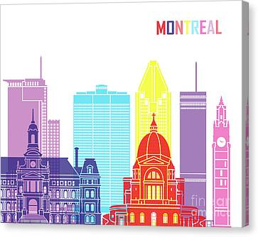 Montreal_v2 Skyline Pop Canvas Print by Pablo Romero