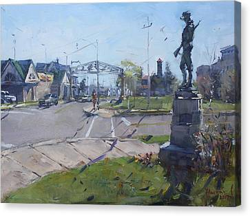 Monument At Pine Ave And Portage Rd Canvas Print by Ylli Haruni