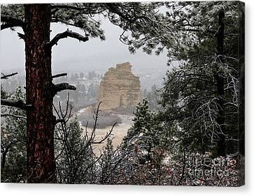 Monument Rock In The Snow Canvas Print