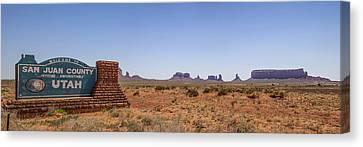Wavy Canvas Print - Monument Valley And Utah Sign by Melanie Viola