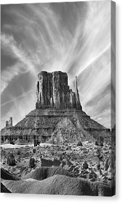 Navajo Nation Canvas Print - Monument Valley - Left Mitten 2bw by Mike McGlothlen
