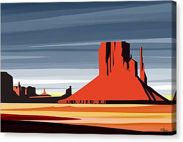 Mesa Canvas Print - Monument Valley Sunset Digital Realism by Sassan Filsoof