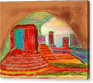 Canvas Print featuring the painting Monument Valley Unafraid Of The Storm by Richard W Linford