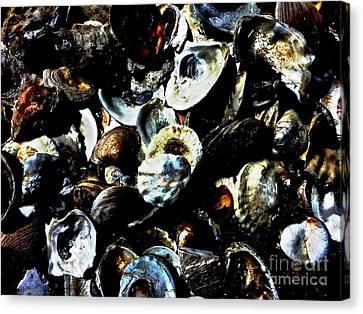 Dinner Party Invitation Canvas Print - Mood Indigo Seashells by Sheila Mccaffery