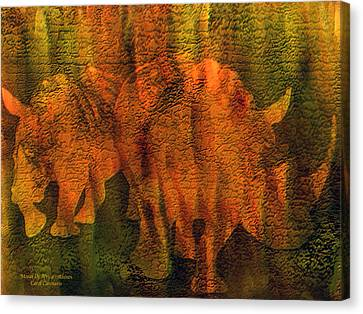 Moods Of Africa - Rhinos Canvas Print by Carol Cavalaris