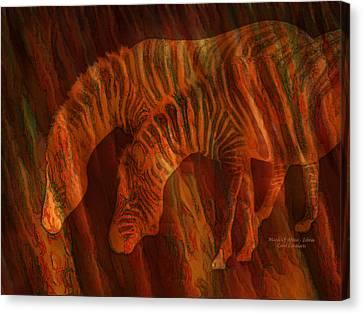 Moods Of Africa - Zebras Canvas Print by Carol Cavalaris