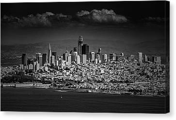 Moody Black And White Photo Of San Francisco California Canvas Print by Steven Heap