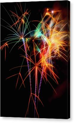 Festivities Canvas Print - Moody Fireworks by Garry Gay