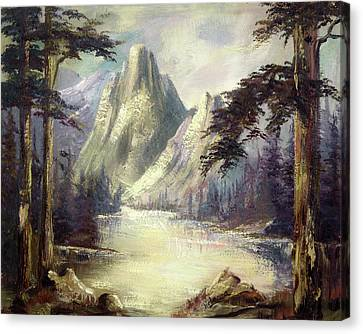 Canvas Print featuring the painting Moody Mountain by Rebecca Kimbel