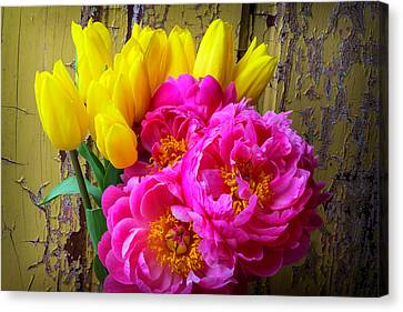 Old Wall Canvas Print - Moody Tulis And Peony's by Garry Gay