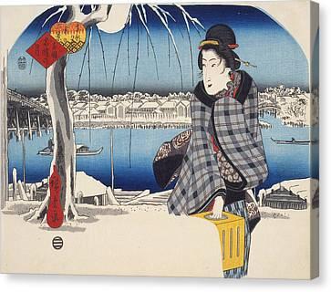 Moon After Snow At Ryogoku Canvas Print by Hiroshige