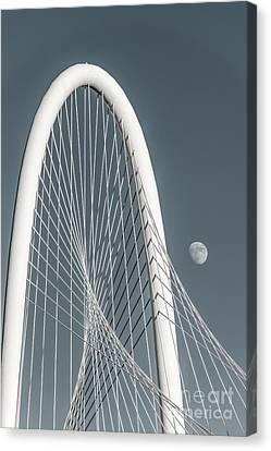 Moon At Margaret Hunt Hill Bridge  Canvas Print