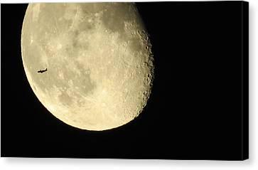 Moon And Plane Over Sanibel Canvas Print