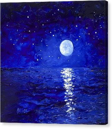 Moon And Stars Painting Canvas Print by Jan Matson