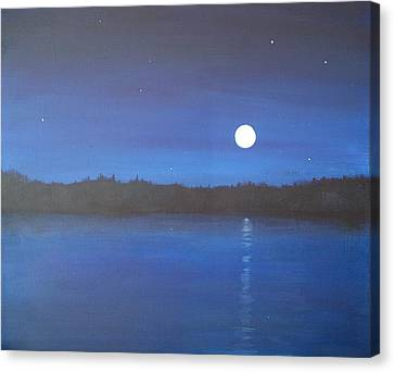 Moon And Stars Reflected Canvas Print by Denise   Hoff
