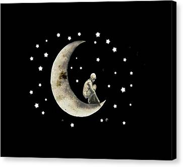 Lullaby Canvas Print - Moon And Stars T Shirt Design by Bellesouth Studio