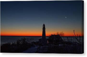 Moon And Venus - Headlight Sunrise Canvas Print