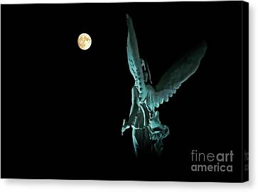 Super Moon And Winged Goddess Of Victory Canvas Print
