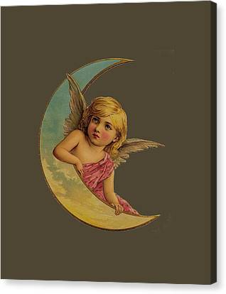 Canvas Print featuring the digital art Moon Angel T Shirt Design by Bellesouth Studio