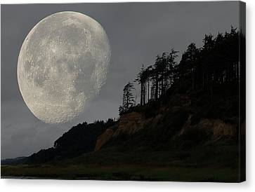 Moon At Roosevelt Beach Wa Canvas Print