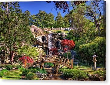 Moon Bridge And Maymont Falls Canvas Print by Rick Berk