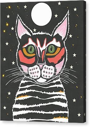 Moon Cat Canvas Print by Kathleen Sartoris